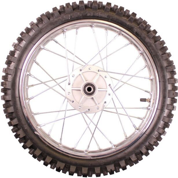 """Rim and Tire Set - Front 14"""" Chrome Rim (1.40x14) with 2.50-14 Tire, Disc Brake 40D4140CR"""