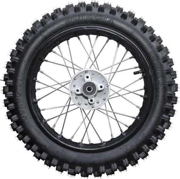 "Rim and Tire Set - Rear 14"" Black Rim (1.85x14) with 90/100-14 Tire, Disc Brake 40D4142BK"