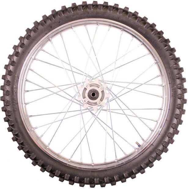 """Rim and Tire Set - Front 19"""" Chrome Rim (1.40x19) with 70/100-19 Tire, Disc Brake 40D4155CR"""