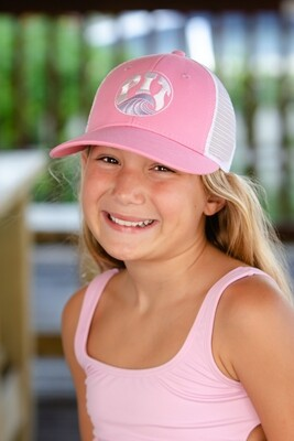 Pit Surf Shop Small Fit Embroidered Trucker Hat , Pink/White