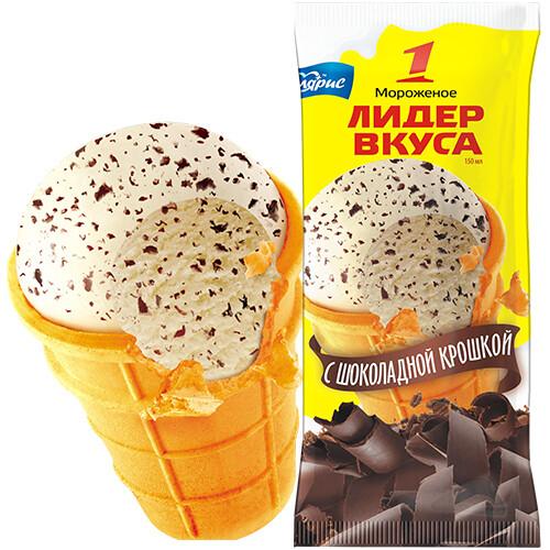 Мороженое Лидер вкуса шоколадная крошка, стаканчик 70г
