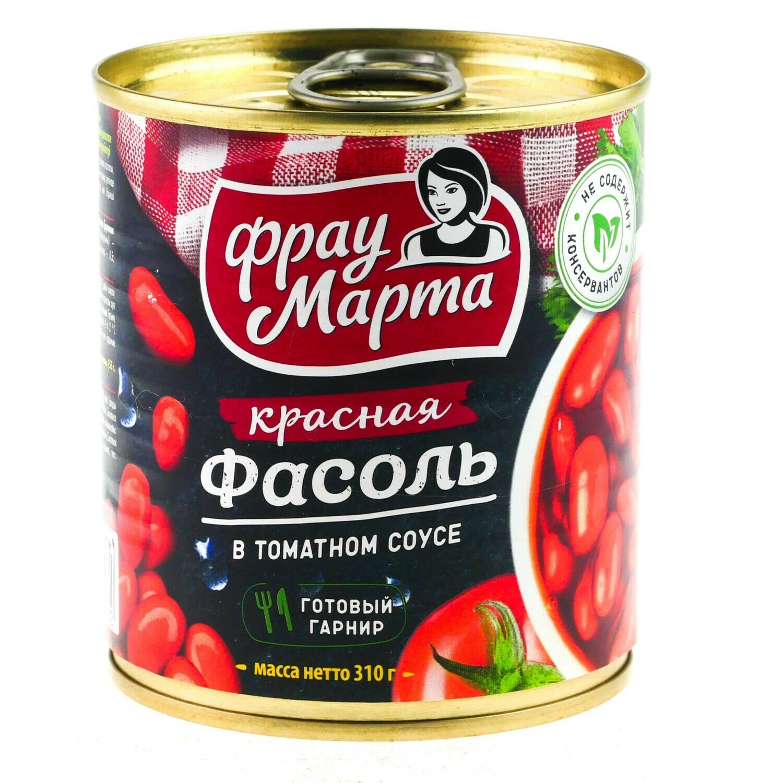 Фасоль Фрау Марта в томатном соусе ж/б 310 г