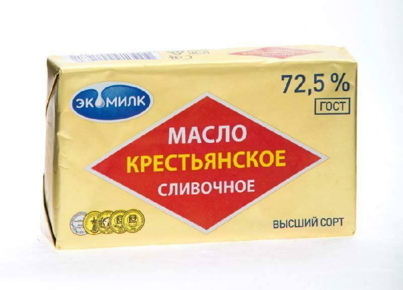 МАСЛО КРЕСТЬЯНСКОЕ 180гр сливочное 72.5% Озерецкое