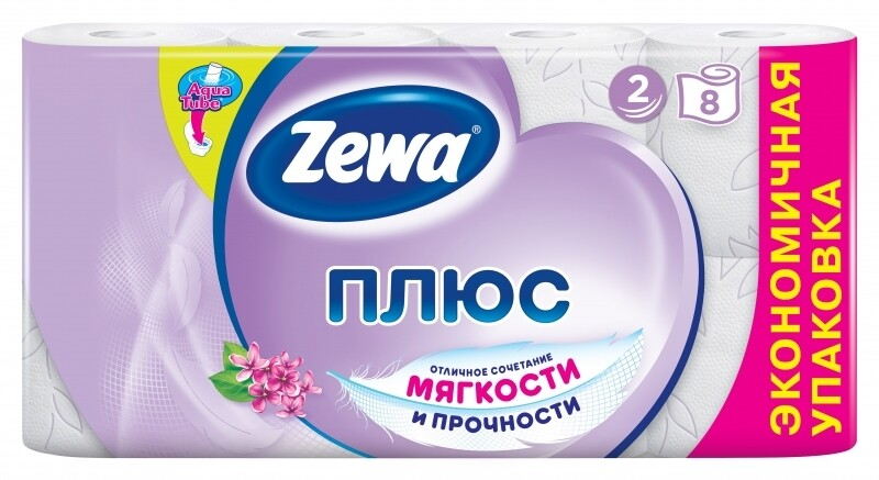 Туалетная бумага Зева Плюс двухслойная Сирень 8 рулонов