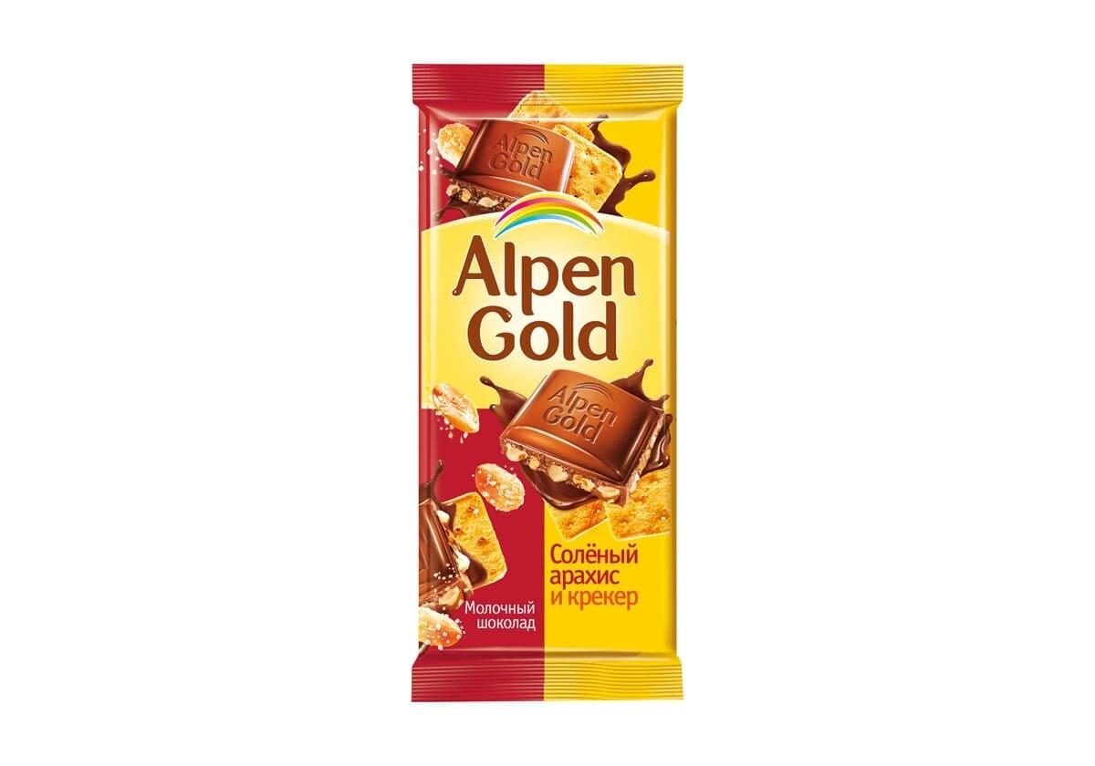 Шоколад Альпен Гольд 90г Соленый арахис и крекер