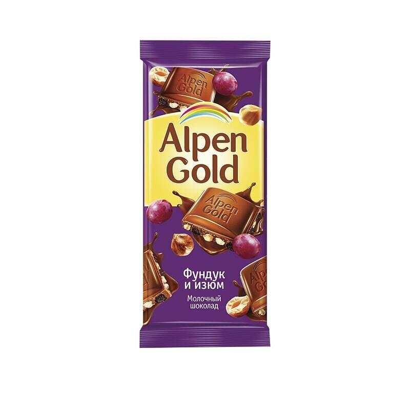 Шоколад Альпен Гольд 90г Фундук и изюм