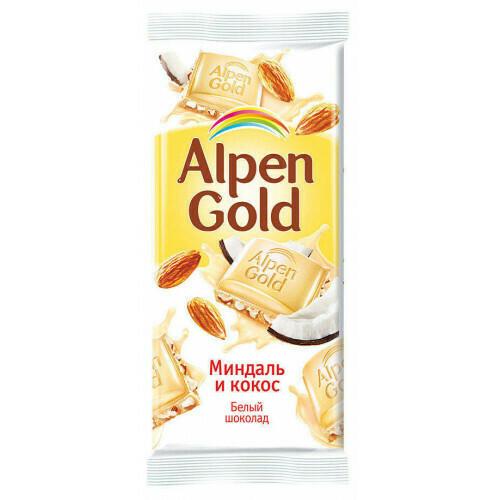 Шоколад Альпен Гольд 90г Миндаль и кокос