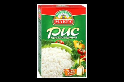 Рис круглозерный в пакетах, 5*80, Макфа
