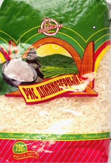 Крупа рис длиннозерный 750г,  Вишневый Сад