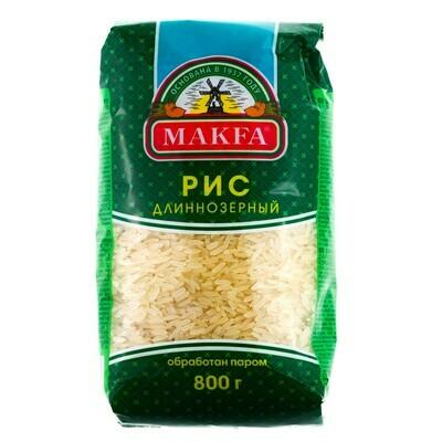 Крупа рис длиннозерный пропаренный Макфа 800г