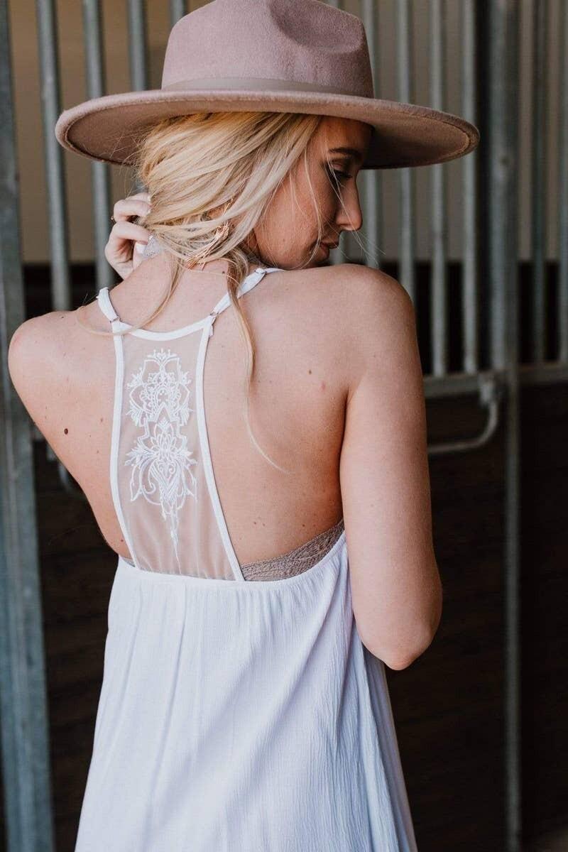 Palmer Tattoo Slip Dress - White