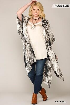 Blk Mix Kimono