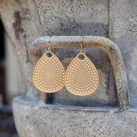 Matte Gold Textured Teardrop Earrings