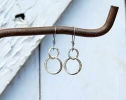 Hammered Circles of Silver Earrings