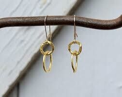 Hammered Circles of Gold Earrings