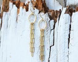 matte Gold Ring & Chain Earrings