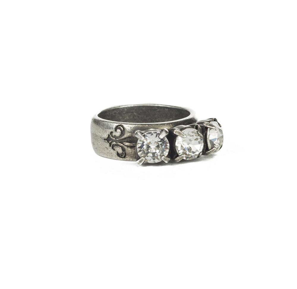 Triple Crystal Silver Swarovski Ring