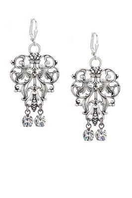 Silver French Filigree Earrings w/ Crystal Swarovski Dangles