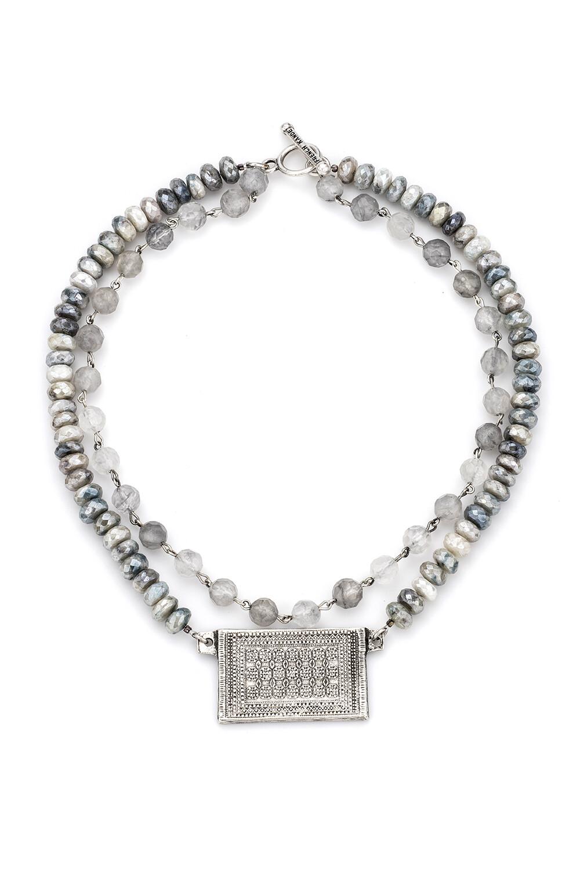 Double Strand Cloudy Quartz w/ Silver Wire, Faceted Silverite & Rouen-Tapis Medallion