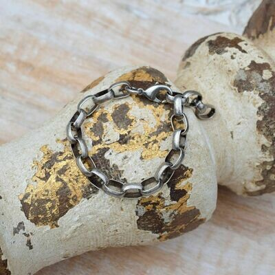 Oxidized Pewter Chain Bracelet
