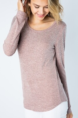 DUSTY PINK LIGHT SWEATER/STONES