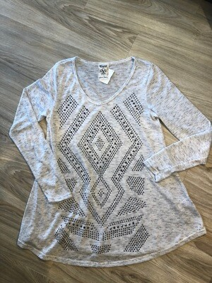 Taupe Long Sleeve Embellished Top