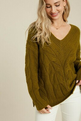 Olive V Neck Cable Knit Pullover Sweater