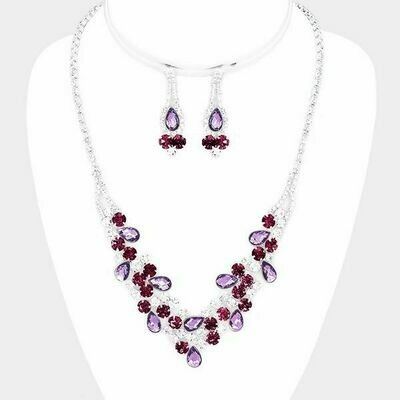 Silver and Purple Floral Crystal Teardrop Necklace Set