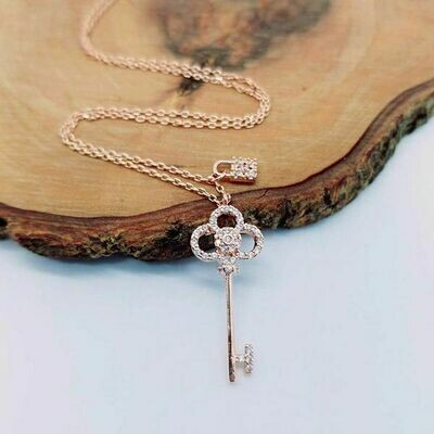 Gold Dipped CZ Key Lock Pendant Necklace