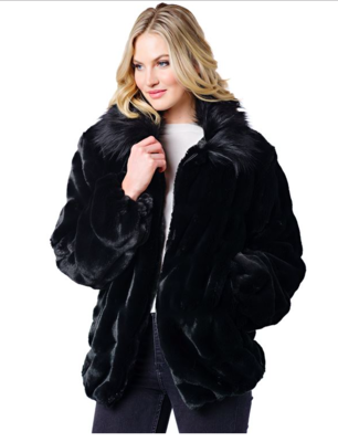 Onyx Mink Couture Faux Fur Bomber Jacket