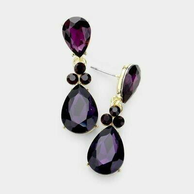 Gold and Purple Double Pear Crystal Earrings