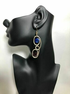 Jeff Lieb Handmade Burnished Gold Drop Earrings with Blue and Purple Swarovski Crystals