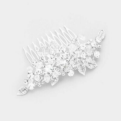 Breathtaking Silver with Clear Austrian Crystals Hair Comb