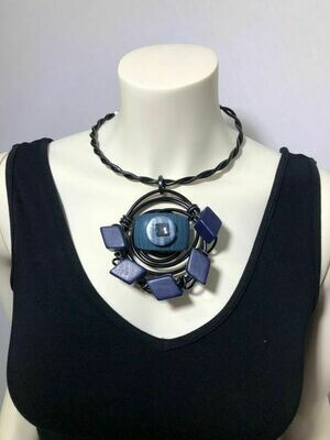 Jeff Lieb Handmade Black Twist Aluminum Wire with Navy Semi Precious Stones and Natural Wood with Square Cut Swarovski Crystal Necklace