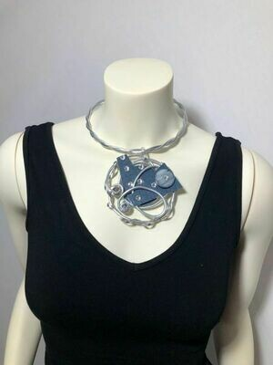 Jeff Lieb Handmade Silver Aluminum with Blue Semi Precious Stone and Clear Swarovski Crystals Necklace