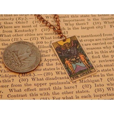Necklace Tarot Card The Lovers Minimalist Small Card