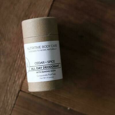 ALL DAY DEODORANT w/Baking Soda Compostable PushTube 1.9oz- Cedar + Spice