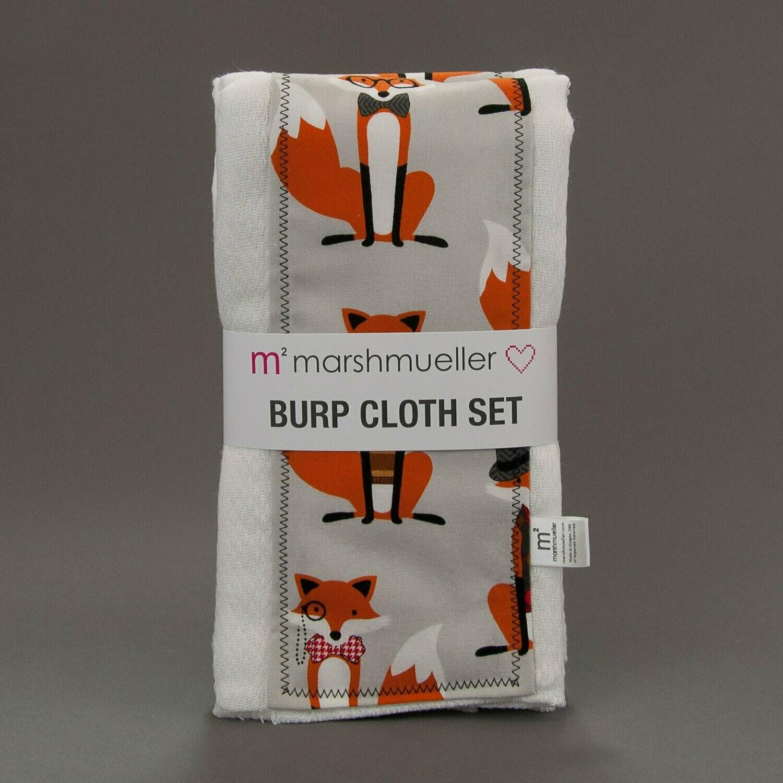 Grey Dapper Foxes Burp Cloth Set