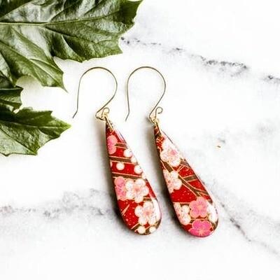 Teardrop Red Cherry Blossom Earrings