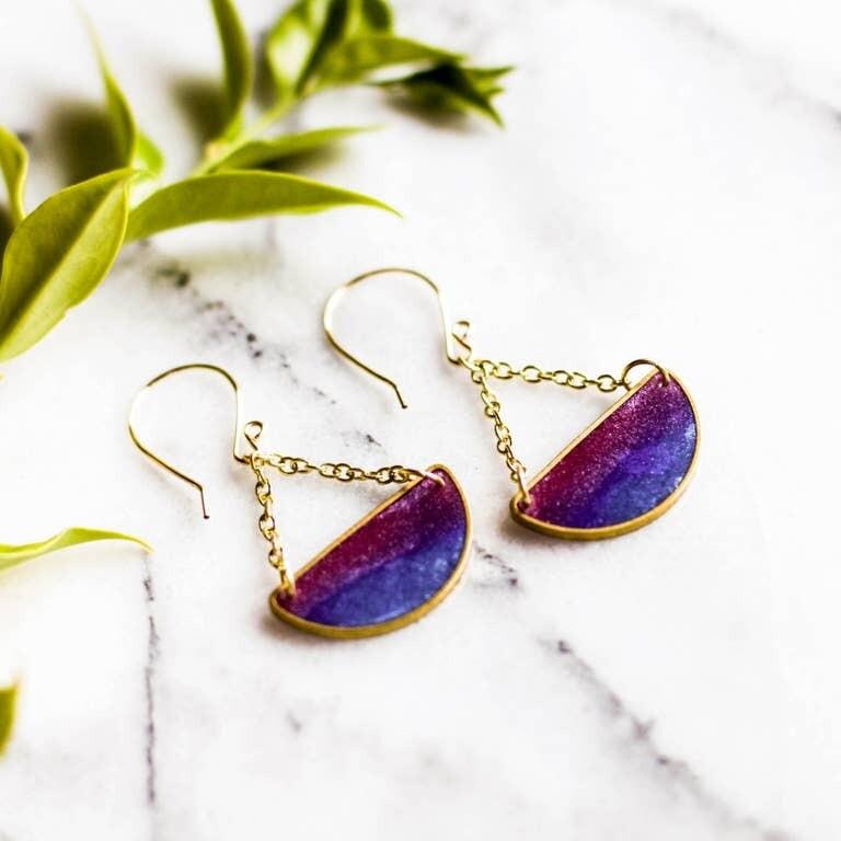 Mood Swings Brass Earrings - Twilight