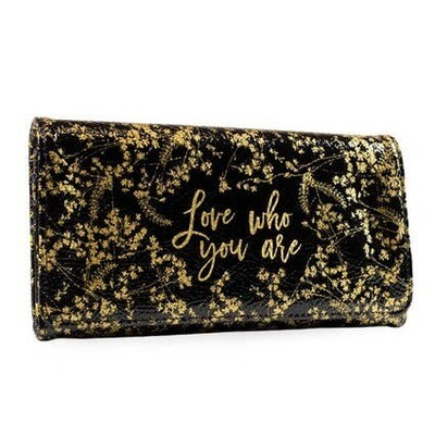 Trifold Wallet - Black Gilded Flowers