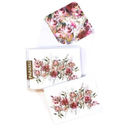 Boxed Card Set - Gold Floral Thanks- SALE