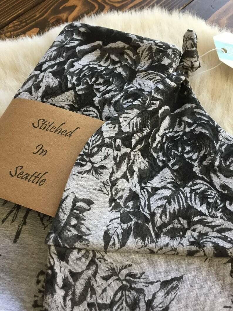 Hat and Swaddling Blanket Set- Grey Floral SALE