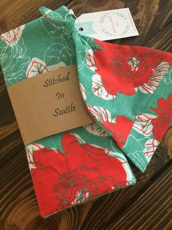 Hat and Swaddling Blanket Set- Red Floral