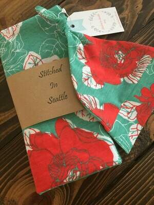 Hat and Swaddling Blanket Set- Red Floral