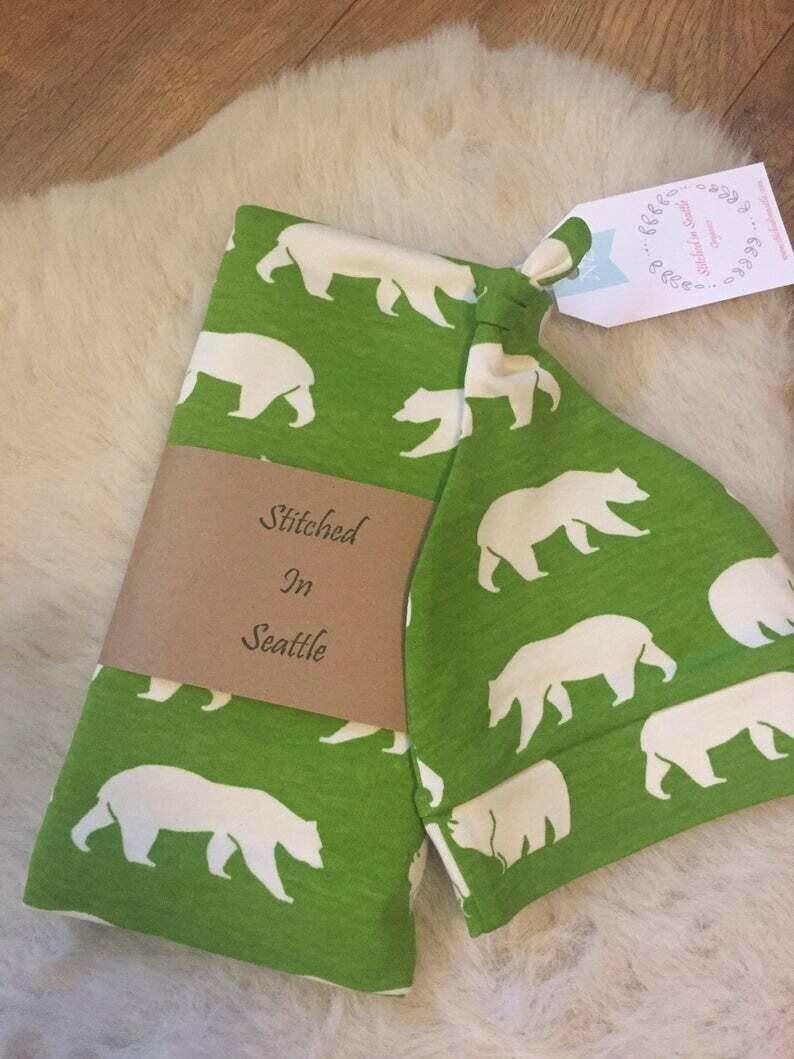 Organic Hat and Swaddling Blanket Set- Green Bears SALE