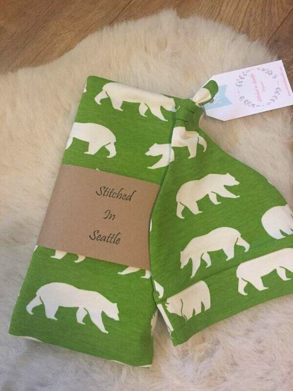Organic Hat and Swaddling Blanket Set- Green Bears SALE