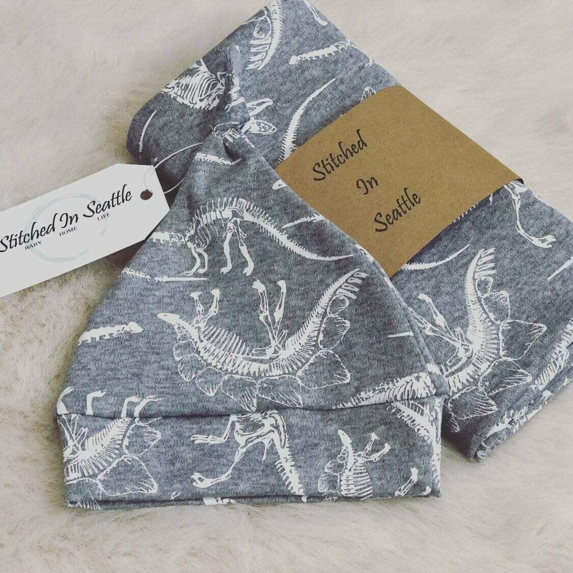 Hat and Swaddling Blanket Set- Dinosaur