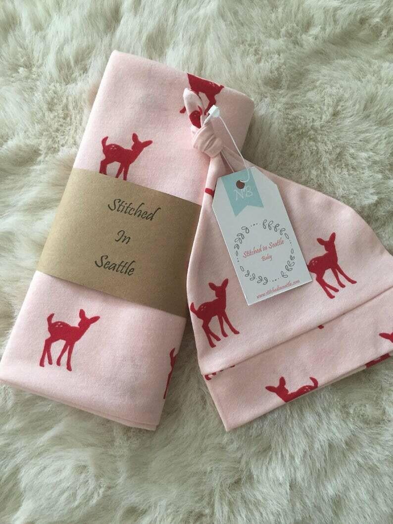 Hat and Swaddling Blanket Set- Red Deer xL