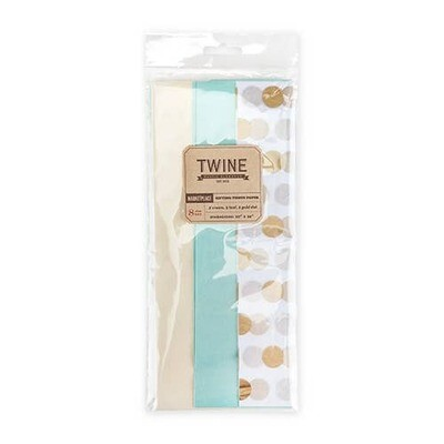 Gold Dot Teal and Cream Tissue Paper